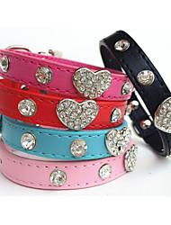 Gatos / Cães Colarinho Strass Vermelho / Preto / Azul / Rosa Pele PU