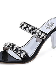 Women's Sandals Summer Comfort PU Casual Low Heel Sparkling Glitter Silver Black Gold