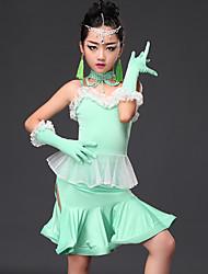 Danse latine Robes Enfant Spectacle Viscose Fantaisie 5 Pièces Sans manche Robe Gants Tour de Cou Short