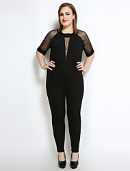 Really Love Women's High Rise Jumpsuits,Sexy Vintage Street chic Straight Mesh Patchwork Polka Dot Color Block