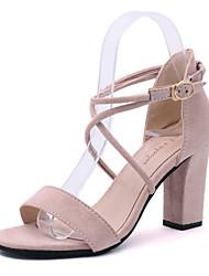 Femme Sandales Confort bottes slouch Polyuréthane Eté Décontracté Marche Confort bottes slouch Talon Compensé Noir Rose 2,5 à 4,5 cm