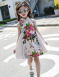 Girl's Casual/Daily Solid Floral Dress,Cotton Rayon Summer Sleeveless
