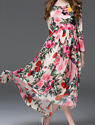 Women's Going out Swing Dress,Floral Round Neck Maxi Long Sleeves Silk Polyester Spring High Rise Inelastic Thin