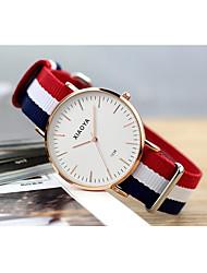 Men's Fashion Watch Quartz Fabric Band White Blue Red Silver White