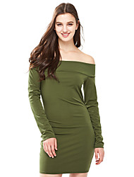 Women's Casual/Daily Sexy Sheath DressSolid Boat Neck Above Knee Long Sleeve White / Black / Green Cotton Fall /