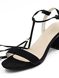 Women's Sandals Summer Comfort PU Outdoor Low Heel Gray Black
