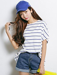Women's Formal Cute T-shirt,Striped Round Neck Short Sleeve Cotton