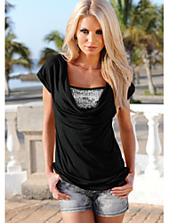 Women's Casual/Daily Simple Blouse,Solid V Neck Short Sleeve Others