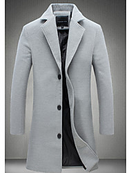 Casual/Daily Simple Coat,Solid Shirt Collar Long Sleeve Winter Hand wash Wash inside out Cotton Long