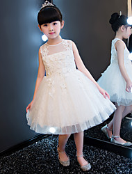 Princess Knee-length Flower Girl Dress - Cotton Lace Tulle Jewel with Appliques Beading Crystal Detailing Lace