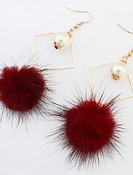 Boucles d'oreille goutte Perle imitéeBasique Original Pendant Cœur Cercle Amitié euroaméricains Bijoux Fantaisie Afrique Simple Style USA