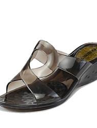 Women's Sandals Slingback Rubber Summer Casual Flat Heel Black Red 1in-1 3/4in
