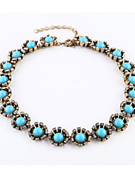 Women's Chain Necklaces Circle Chrome Fashion Personalized Light Blue Jewelry For Party Thank You Christmas Gifts 1pc