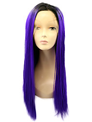 Black Root Synthetic Lace Front Wigs Straight Hair Ombre Blue Wig Heat Resistant Fiber Hair for Woman
