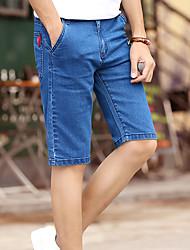 Homme simple Taille Normale Jeans Short Pantalon,Mince Slim Couleur Pleine Lettre