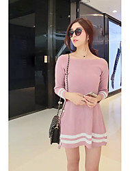 Women's Casual/Daily A Line Dress,Color Block Boat Neck Above Knee Long Sleeve Cotton Spandex Spring Summer High Rise Micro-elastic Thin