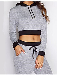 Women's Long Sleeve Running Hoodie Spring Fall/Autumn Sports Wear Yoga Cotton Slim Light Grey Fashion