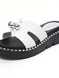 Women's Sandals Creepers Leatherette Summer Outdoor Dress Casual Walking Metallic toe Creepers White Black 1in-1 3/4in