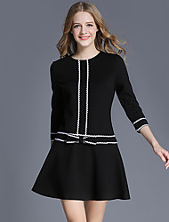 Women's Casual/Daily Sexy A Line Dress,Solid Striped Round Neck Above Knee ¾ Sleeve Cotton Nylon Spandex Spring Low Rise Inelastic Medium
