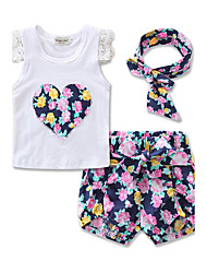 Girls' Going out Casual Print Embroidery T-shirt Sets Cotton Summer Short Sleeve shorts Clothing Set