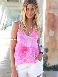 Damen Solide Einfach Lässig/Alltäglich T-shirt,V-Ausschnitt Ärmellos Baumwolle