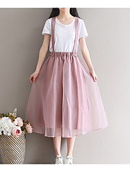 Women's Knee-length Skirts Swing Solid