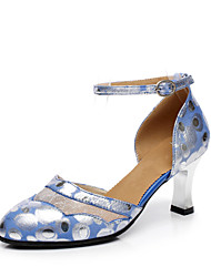 Customizable Women's Dance Shoes Leather Modern Heels Stiletto Heel Performance Blue Green