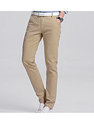 Men's High Rise Inelastic Chinos Business Pants,Simple Slim Solid