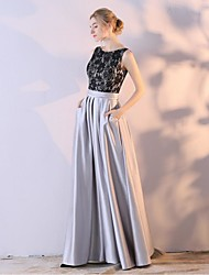Ball Gown Scoop Neck Ankle Length Lace Satin Chiffon Formal Evening Dress with by JUEXIU Bridal