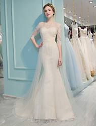 Mermaid / Trumpet Jewel Court Train Lace Tulle Wedding Dress with Beading Sequin Lace