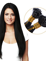 Human Hair Extensions U Tip Real Human Hair Extensions Keratin 100 Strands Color #1B Remy Human Hair Fusion Extensions