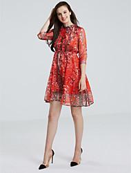 Feminino Evasê Vestido, Para Noite Moda de Rua Estampado Decote Redondo Altura dos Joelhos Manga ¾ Laranja Poliéster Primavera Outono