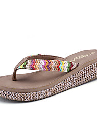 Women's Slippers & Flip-Flops Light Soles PU Summer Casual Light Soles Flower Wedge Heel Beige Dark Blue Dark Brown Khaki Under 1in