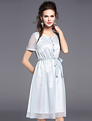 Women's Casual/Daily Party Simple Street chic Sheath Dress,Solid Round Neck Above Knee Short Sleeve Polyester Summer Mid Rise