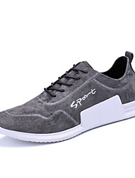 Men's Athletic Shoes Running Comfort Satin Fall Winter Athletic Casual Lace-up Dark Grey Brown Black Flat