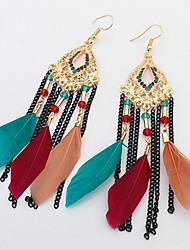 Long Feather Earrings For Women Sweet Romantic 2017 New Jewelry Wholesale Fine Elegant Gift