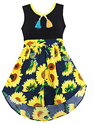 Girls Dress Fashion Black Sunflower Print Cute Party Pageant Holiday Children Clothes
