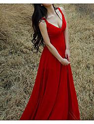 Для женщин На каждый день Простое Оболочка С летящей юбкой Платье Однотонный,V-образный вырез Макси Без рукавов Другое ЛетоСо стандартной