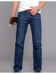 Men's Mid Rise Micro-elastic Jeans Pants,Active Straight Solid