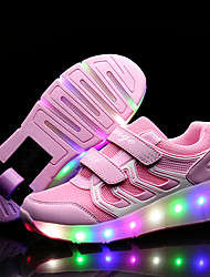 Kid Boy Girl's Wheelys Roller Skate Shoes / Ultra-light Single Wheel Skating LED Light Shoes / Athletic / Casual LED Shoes Black Blue Pink