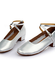 Women's Dance Shoes Leatherette Modern Flats Heel Indoor Silver Customizable