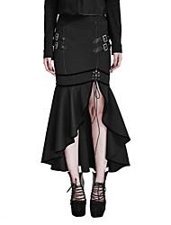 Femme Sexy Vintage Punk & Gothic Midi Jupes,Moulante Trompette/Sirène Volants Fendue Couleur Pleine