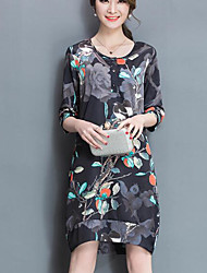 Women's Casual/Daily Loose Dress,Floral Round Neck Midi Short Sleeve Silk Spring Summer Mid Rise Micro-elastic Thin