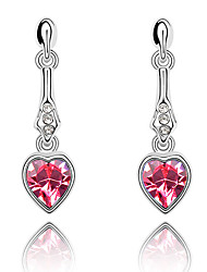 Women's Earrings Set Crystal Love Heart Euramerican Chrome Jewelry For Wedding Party Birthday Gift