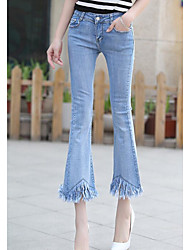 Women's Low Rise Inelastic Jeans Pants,Simple Bootcut Solid