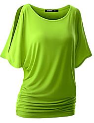 Damen Solide Sexy Street Schick Lässig/Alltäglich T-shirt,Rundhalsausschnitt Sommer Kurzarm Baumwolle Kunstseide Dünn