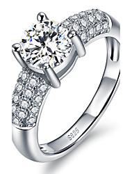 Bague Bague de fiançailles Cristal Mode Personnalisé euroaméricains Bijoux de Luxe Argent sterling Cristal Forme de Cercle Argent Bijoux