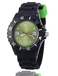 Unisex Fashion Watch Quartz Silicone Band Casual Black