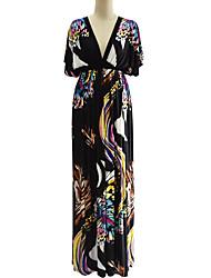 Balançoire Robe Femme Grandes Tailles Bohème,Imprimé V Profond Maxi Manches Courtes Spandex Eté Taille Haute Micro-élastique Moyen