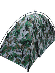 1 person Tent Double Fold Tent One Room Camping Tent 1500-2000 mm Fiberglass Oxford Waterproof Portable-Hiking Camping-Camouflage